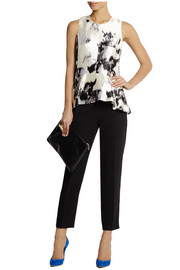 Lela Rose Paneled silk peplum top