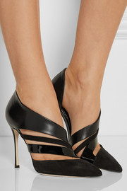 Cutout suede and leather pumps