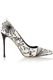 Sergio Rossi Embroidered canvas pumps