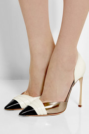 Metallic-trimmed leather d'Orsay pumps