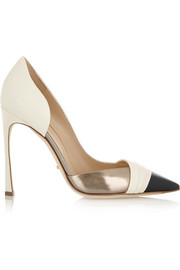 Sergio Rossi Metallic-trimmed leather d'Orsay pumps