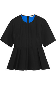 Pleated neoprene-bonded crepe top