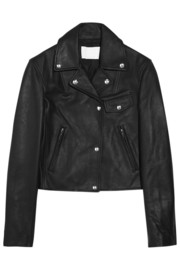 Waxed-leather biker jacket