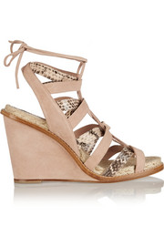 Tempest suede and elaphe sandals