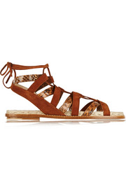 Tempest suede and elaphe flat sandals