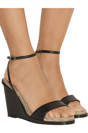 Hampton matte-leather espadrille wedge sandals