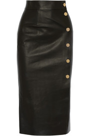 Tamara Mellon Double-faced leather wrap skirt