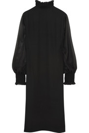 Tamara Mellon Smocked silk-georgette turtleneck dress