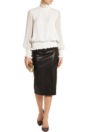 Tamara Mellon Smocked silk-georgette turtleneck top