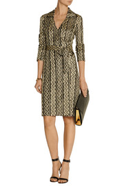 Diane von Furstenberg Dolores metallic knitted wrap dress