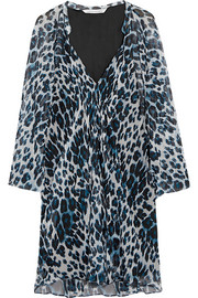 Fleurette leopard-print silk-chiffon mini dress
