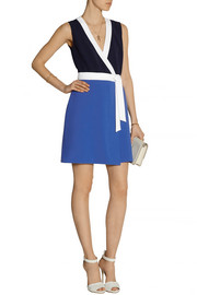 Diane von Furstenberg Gracie color-block stretch-crepe mini dress