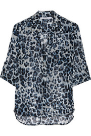 Lorelei Two leopard-print silk-chiffon shirt