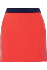 Sloane color-block stretch-crepe mini skirt