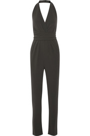 Halterneck stretch-crepe jumpsuit