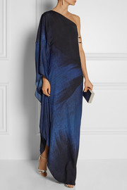 One-shoulder printed crepe de chine gown