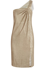 Tulle-trimmed sequined stretch-jersey dress