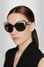 Dolce & Gabbana Embellished cat eye acetate sunglasses