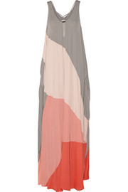 Color-block chiffon maxi dress
