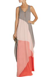 Halston Heritage Color-block chiffon maxi dress