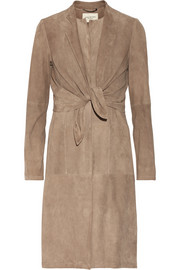 Knot-front suede coat