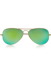 Aviator metal polarized mirrored sunglasses