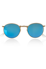 Ray-Ban Round-frame gold-tone polarized mirrored sunglasses