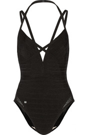 Hervé Léger Neith mesh-trimmed bandage swimsuit