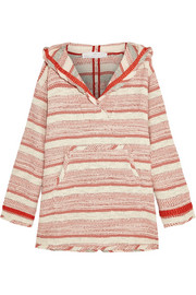 Addition striped woven cotton-blend hooded top