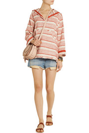 Thakoon Addition Addition striped woven cotton-blend hooded top
