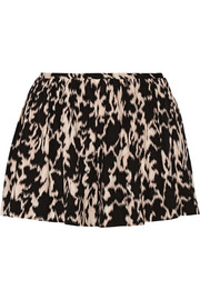 Addition printed stretch silk-blend shorts