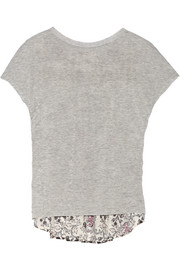 Addition jersey and printed eyelet-cotton top