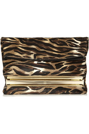 Tamara Mellon Dazzle animal-print calf hair clutch