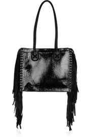 Tamara Mellon Black Rock fringed patent-leather and suede tote
