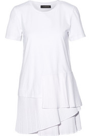 Pleated cotton-jersey mini dress