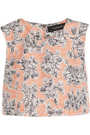 Cropped floral-jacquard top