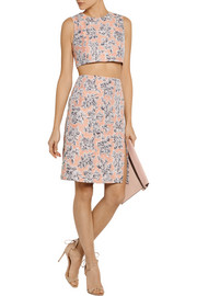 Thakoon Cropped floral-jacquard top