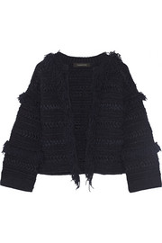 Fringed stretch linen-blend cardigan