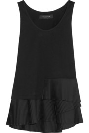 Pleat-trimmed cotton-jersey top