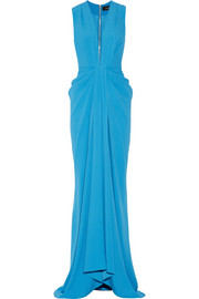 Draped satin-crepe gown