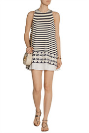 Thakoon Lace-trimmed cotton-piqué mini dress