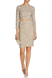 Alice + Olivia Ramos embellished stretch-mesh skirt
