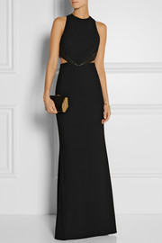 Alice + Olivia Adel leather-trimmed cutout crepe gown
