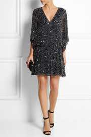 Alice + Olivia Lyla sequined silk-chiffon mini dress