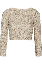 Alice + Olivia Lacey cropped embellished stretch-mesh top