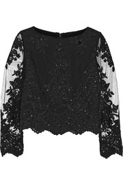 Alice + Olivia Ava embellished lace and tulle top