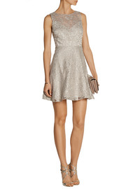 Alice + Olivia Natalia open-back lace mini dress