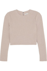 Alice + Olivia Tess cropped stretch-cloqué top