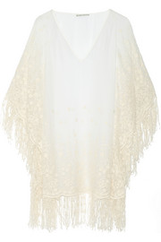 Alice + Olivia Haveri embroidered silk-chiffon poncho