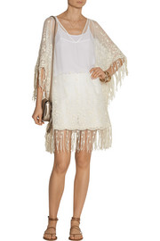 Haveri embroidered silk-chiffon poncho